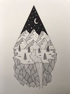drawing geometric mountain drawings simple wall sketches tattoo sold mandala ink
