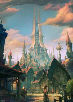 Cool village concept Fantasy art landscapes Fantasy concept art Fantasy city