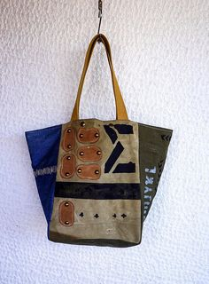 36cd4a8e4342 Oversized Canvas Tote Bag Military Canvas Tote Bag Upcycled Vintage Canvas Tote  Bag Canvas and Denim Carry All  Weekender Bag – Stella07. Duffel ...