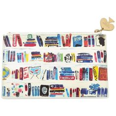 kate spade new york Bella Bookshelf Pencil Pouch Set ($30) ❤ liked on Polyvore featuring home, home decor, office accessories, bags, zipper pencil case, kate spade pencil pouch, white pencil, kate spade pencil case and zipper pencil pouch