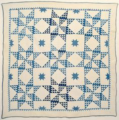 "Touching Stars Quilt: Circa 1880; Pennsylvania This version of Touching Stars is different from the more usual configuration of stars made of diamonds. In this quilt known as The Twinkling Star, triangles are filled with smaller triangles as in the Birds in the Air pattern. It is made with a variety of medium and darker blue indigo prints. 88"" square."