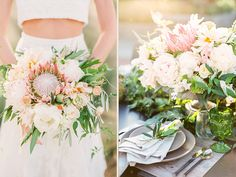 Blush and White wedding with proteas, olive branches, peonies