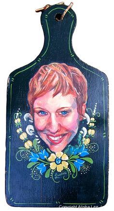 "(c) Alisha Lee Jeffers. ""Laurie."" Acrylic on found surface. 7""x 14"""