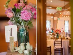 Country chic wedding decor. #bluemasonjar #glitter #lightstrings