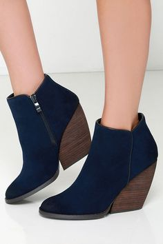 Navy Suede Leather Wedge Booties//