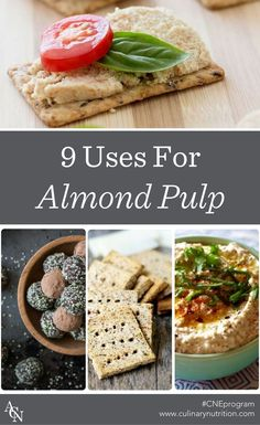 Love making almond milk, but don't know what to do with the pulp? Here are 9 amazing uses for almond pulp, plus almond pulp recipe inspiration! Almond Milk Recipes, Homemade Almond Milk, Raw Food Recipes, Vegetarian Recipes, Cooking Recipes, Healthy Recipes, Almond Meal, Vitamix Recipes, Almond Flour