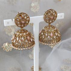 Jhumki Earrings, Dangle Earrings, Antique Gold, Dangles, Peach, Stone, Antiques, Jewelry, Antiquities