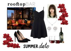 """""""Summer Date: Rooftop Bar"""" by madahi ❤ liked on Polyvore featuring Libbey, Ice, River Island, Gianvito Rossi, Miss Selfridge, summerdate and rooftopbar"""