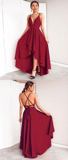 High-Low Chiffon Cheap Simple Burgundy Prom Dresses ccdba250b