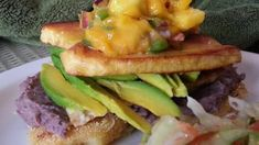 Vegan Arepas Made with Polenta. Layers of polenta, tofu, bananas, avocado, and mango salsa combine for a surprising and simple meal. Cereal Recipes, Whole Food Recipes, Cooking Recipes, Vegetarian Dinners, Vegetarian Recipes, Vegan Finger Foods, Polenta Recipes, Food To Go, Vegan Appetizers
