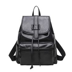2017 Black PU Leather Women Backpack Solid Vintage Girls School Bags For Girls School Travel Bag Backpack Bolsos Mujer Mochila