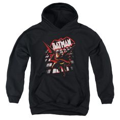 BEWARE THE BATMAN/FROM THE TOP-YOUTH PULL-OVER HOODIE-BLACK
