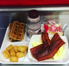 Whole-grain waffle sticks with crispy bacon and scrambled eggs were served at Red Clay Consolidated School District in DE!