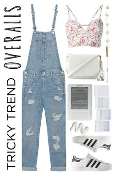 """""""Tricky Trend: Overalls"""" by lilymadelyn ❤ liked on Polyvore featuring Etro, True Religion, adidas, Kate Spade, Holga, Terre Mère, Serena & Lily, TrickyTrend and overalls"""