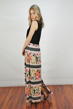 Vtg 70s Pink Black Floral Sleeveless Hippie Festival Party Maxi Dress M L | eBay