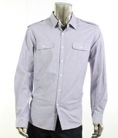 Kenneth Cole Reaction NEW Purple Shirt Mens Size XL Pencil Striped Military Button-down Shirt MSRP $89 (Visit www.RetailFashionOutlet.com for more!)