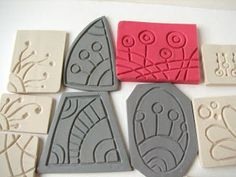 With Your Hands: September 2010 Homemade Stamps, Clay Stamps, Ceramic Tools, Clay Texture, Stamp Carving, Clay Design, Foam Crafts, Tampons, Linocut Prints