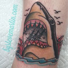 Shark head I got to do in Wildwood on fellow tattooer, Sue Garcia