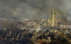 Battle of Vyazma, by Piter von Hess. Fought on Nov 3, 1812, the battle pitted Napoleon's retreating Grand Army against a Russian pursuing force lead by General Miloradovich. In a series of confused actions in and around the city of Vyazma (which burned to the ground) the French were cut down by determined Russian attacks that included the ferocious Cossacks.The battle ended with the Napoleonic rear guard on the run and with many of its units destroyed by Cossack forays.