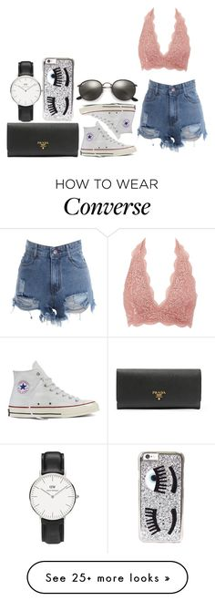"""""""#8473"""" by laylah-wish on Polyvore featuring Charlotte Russe, Converse, Ray-Ban, Prada, Chiara Ferragni and Daniel Wellington"""