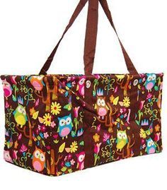 Thirty Styles Choose One Wise Owl LARGE UTILITY TOTE Laundry Picnic Bag