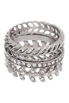 """Lady of the Isle Ring Set $60 - $14 at HauteLook. Rhodium plated steel triple stacked bezel set glass stone and filigree leaf motif ring set - Approx. 0.5"""" band width (set) Rhodium plated steel, glass stones"""