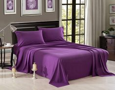 This wonderful set includes 1 Piece Fitted, 1 Piece Flat, and 2 Pillowcase. You won't regret it for sure. #purplebeddingsheetsets #sheetsets Purple Bed Sheets, Purple Bedding Sets, King Bedding Sets, Luxury Bedding Sets, Comforter Sets, Matching Bedding And Curtains, Satin Bedding, Cotton Bedding, Linen Duvet