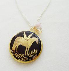 Gold black Pegasus locket necklace