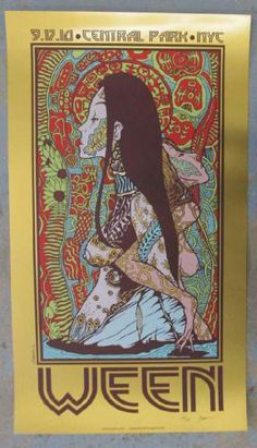 Original silkscreen concert poster for Ween in Central Park in New York City, NY in 2010. 18 x 30 inches on gold matte foil paper. Signed and numbered 32/36 by the artist Jermaine Rogers. Light handling marks.