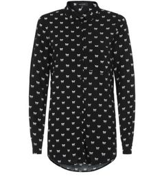 Black Bow Print Long Sleeve Shirt