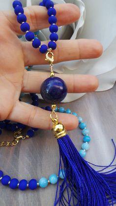 Long beaded tassel necklace. Blue tassel by AllAboutEveCreations
