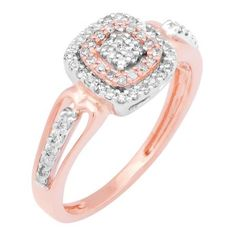 Honor the past, celebrate the present and look forward to a future together with this stunning cluster engagement ring. Created in two tone rose gold plated 14K white gold, the engagement ring features a cluster of shimmering round diamonds sparkles at the center. A double cushion-shaped frame, set with shimmering round accent diamonds, wraps this center cluster in a sparkling embrace and additional diamonds line the gracefully rings shank.