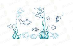 Under the sea Wall Decals Underwater Ocean Fish Decal Nursery