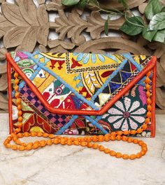 Multicoloured Kutch Embroidered Cotton Hand Bag With Mirror Work