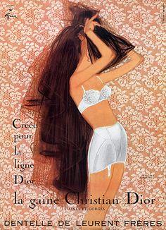 Christian Dior (Lingerie) 1957 René Gruau, Lingerie Bra Girdle