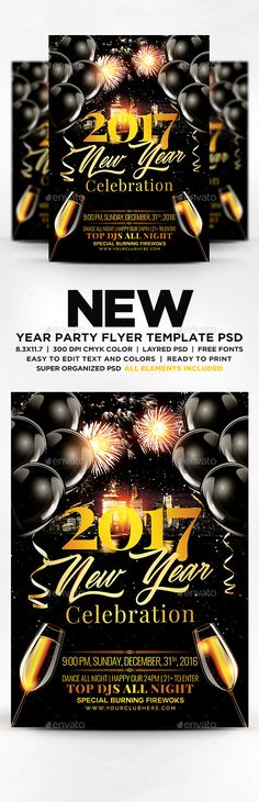 2017 New Year Celebration Flyer — Photoshop PSD #birthday party #classy • Available here → https://graphicriver.net/item/2017-new-year-celebration-flyer/19076340?ref=pxcr