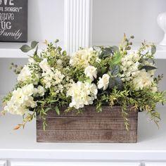 Vintage Farmhouse Decor Hydrangeas, delphiniums and roses in a long wood box. Makes a lovely farmhouse centerpiece.