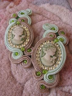 soutache by GosiaBizu on DeviantArt Bead Embroidered Bracelet, Bead Embroidery Jewelry, Beaded Embroidery, Shibori, Soutache Tutorial, Gold Bridal Earrings, Earring Trends, Hair Decorations, Polymer Clay Necklace
