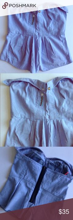 Strapless odille blue peplum too sz 2 Worn once. Adorable peplum top. Perfect for summertime, beach vacation & casual nights out. Anthropologie Tops