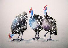 guinea fowl chicken watercolor - Google Search