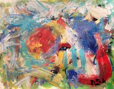 The Red and blue and yellow of it all, with green modern abstract expressionist action painting small artwork bold brushstrokes original art by RussPotakArtist on Etsy