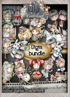 Winnie in Wonderland - (BIG KAHUNA DOWNLOAD) Printable Digital card/scrap…