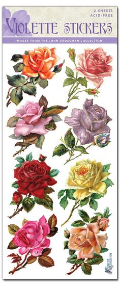 Rose Buds Stickers for Crafting-2 sheets by tcastle1 on Etsy