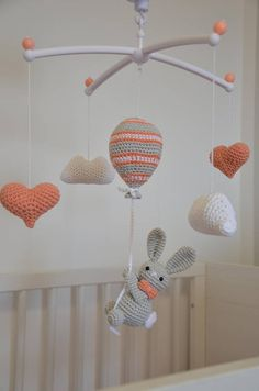 Handmade crochet Baby mobil Rabbit on the striped balloon heart baby mobile Rab. - Handmade crochet Baby mobil Rabbit on the striped balloon heart baby mobile Rabbit in sight Nurser - Mobiles En Crochet, Crochet Mobile, Crochet Baby Toys, Crochet Gifts, Easy Crochet, Baby Boy Room Decor, Nursery Decor, Music Nursery, Nursery Bedding