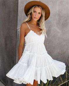 VICI is the modern woman's fashion haven. Shop our amazing collection of statement pieces, clothing, handbags & accessories. White Flowy Dress, Cute White Dress, Striped Maxi Dresses, White Summer Dresses, White Babydoll Dress, White Sundress, Grad Dresses, Cute Dresses, Casual Dresses