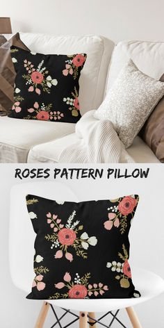 Pillow Covers With Roses Black Couches, Black Pillows, Modern Pillows, Decorative Throw Pillows, Pink Cushions, Couch Cushions, Couch Pillow Covers, Pillow Cases, Cushion Covers