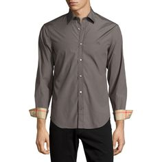 Burberry Cambridge Long-Sleeve Sport Shirt (€255) ❤ liked on Polyvore featuring men's fashion, men's clothing, men's shirts, men's casual shirts, grey, mens embroidered shirts, mens grey shirt, mens gray dress shirt, mens sports shirts and mens button front shirts