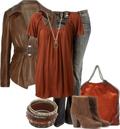 """Copper & Brown"" by lagu on Polyvore - Love the colours!"