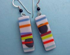 White Pick Up Stix Earrings, Handmade Fused Glass Jewelry
