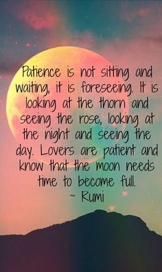rumi quotes - Patience is not sitting and waiting, it is foreseeing. It is looking at the thorn and seeing the rose, looking at the night and seeing the day. Lovers are patient and know that the moon needs time to become full. Rumi Love Quotes, Words Quotes, Life Quotes, Inspirational Quotes, Sayings, Rumi On Love, Old Love Quotes, Top Quotes, Qoutes
